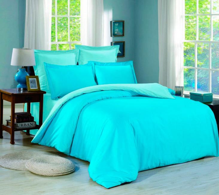 Мятно бирюзовое комбинированное постельное белье с вышивкой